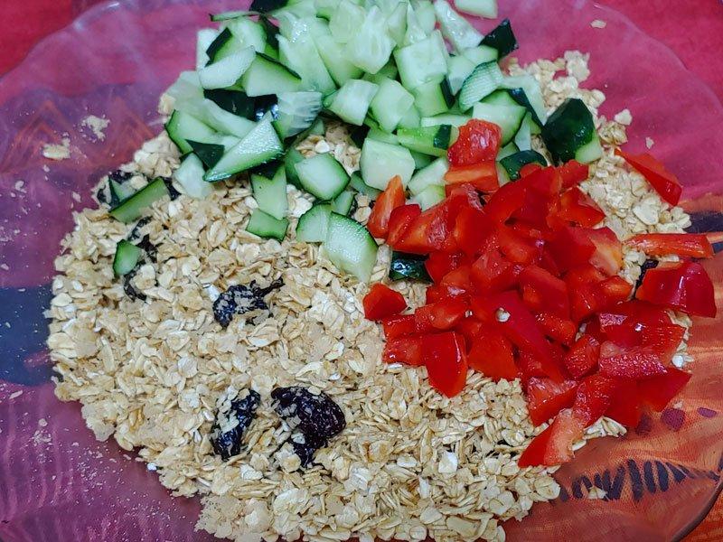 Avena con aceite de lino para veganos y vegetarianos y verduras
