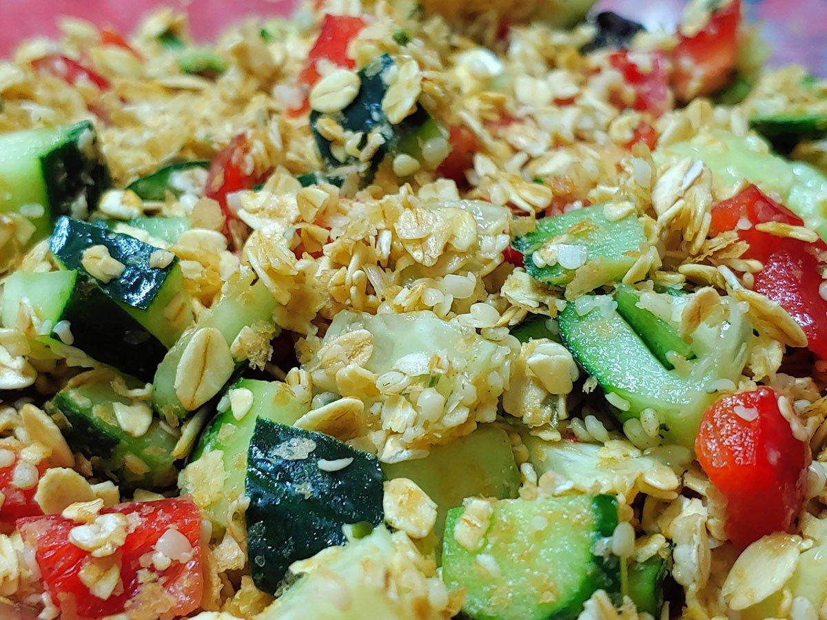 Desayuno vegano de avena nutritivo y vegetariano saludable