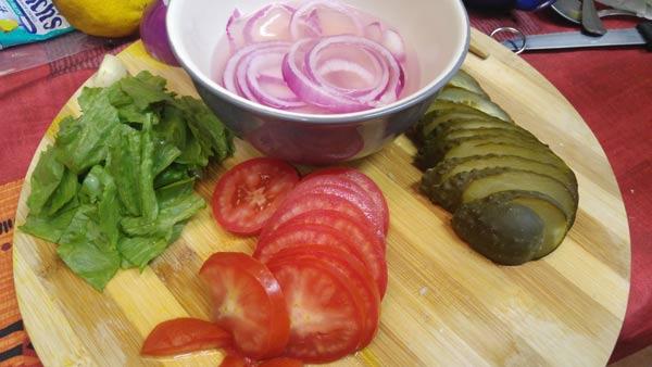 Verduras para hamburguesa