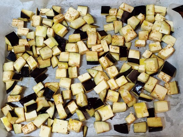 Berenjenas con curry de verduras