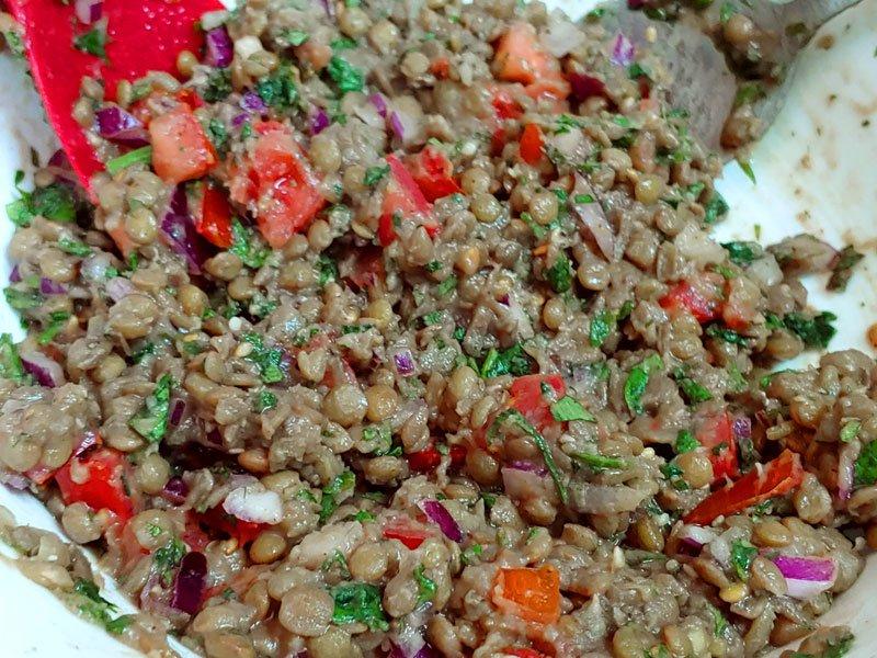 Tabule vegano de lentejas receta tradicional