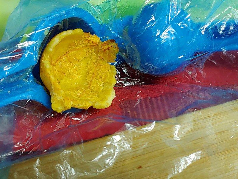 Cestas de plátano macho frito rellenas para navidad
