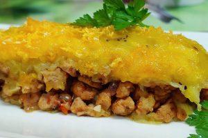 Receta vegana de pastelón de plátano macho maduro dominicano y puertorriqueño de soja