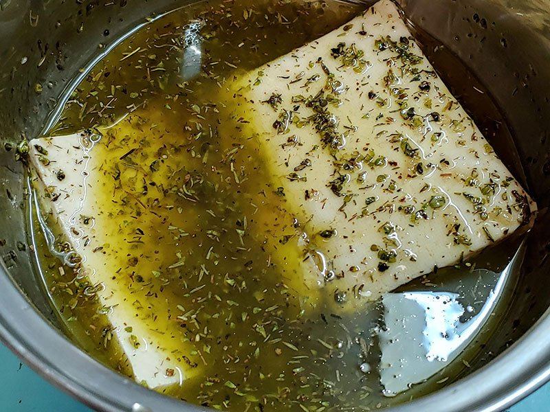 Tofu marinado sin soja