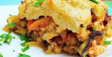 Receta vegana de pastel de berenjenas al horno y queso vegano y fácil thermomix