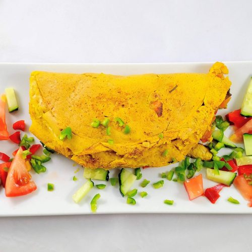 Tortilla francesa vegana con harina de garbanzos