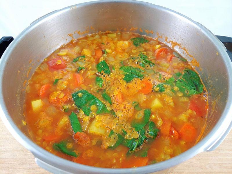 Sopa de lentejas y verduras